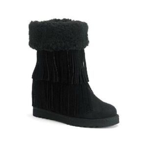 Madden Girl Fringed Wedge Boots